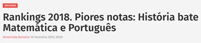 Rankings 2018. Piores notas: História bate Matemática e Português