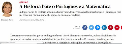 História bate o Português e a Matemática