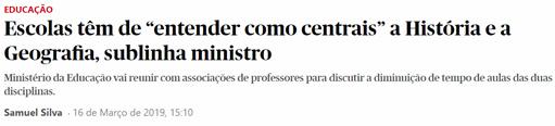 """As Escolas têm que"""" entender como centrais"""" a História e a Geografia sublinha ministro"""